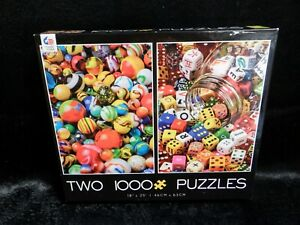 """New Sealed Ceaco Two 1000 Piece Puzzles Marbles & Dice 18""""x25"""""""