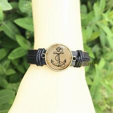 1 pcs Anchor Nautical Bangle 20 mm Glass Cabochon Leather Charm Bracelet
