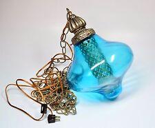 """Vintage Mid Century Modern Aqua Glass Swag Light Pendant Fixture Plug In 13"""""""