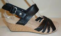 UGG Australia Size 6 SERINDA Black Leather Wedge Heel Sandals New Womens Shoes