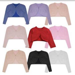 Girls Knitted Shrug Kids Long Sleeve Bolero Top Lurex Glitter Effect Cardigan