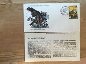 GAMBIA 1978 FDC WWF BIRDS OF PREY VERREAUX'S EAGLE OWL ABUKO NATURE RESERVE