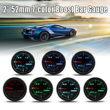 "2"" 52mm Car Turbo Boost Gauge Pointer LED BAR Pressure Meter 7 Color Black"