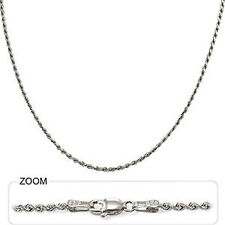 "9 gm 14k White Gold Solid Diamond Cut Rope Necklace Women's/Men's Chain 24"" 2mm"