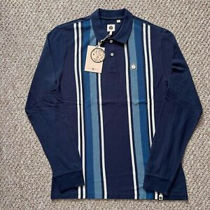 Pretty Green Mens Long Sleeve Striped Polo Navy T Shirt Size M Medium BNWT