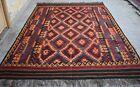 9'1 x 13'10 ft Handmade afghan tribal maimana wool persian large area kilim rug