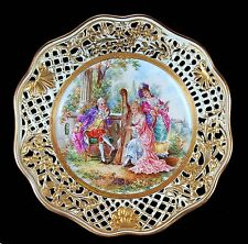 ANTIQUE MEISSEN DRESDEN RETICULATED HAND PAINTED PASTORAL WOLFSOHN PLATE!