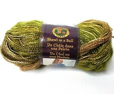 Lion Brand Brown Green Yarn Peaceful Earth Shawl in Ball Cotton Blend #4 Wt.