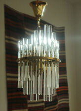 Midcentury Crystal Glass Rod and Brass Chandelier by Christoph Palme, 60s