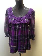ECI Sz10 Purple Plaid 3/4 Sleeve Empire Waist Lined Babydoll Top W/Rosettes