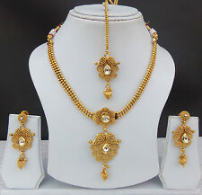 Bollywood Indian Jewelry Gold Plated Kundan Bridal Polki Necklace Earrings Set