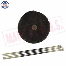 "Black Exhaust Header Heat Wrap Shield, 1"" x 50' Roll With Stainless Ties Kit"