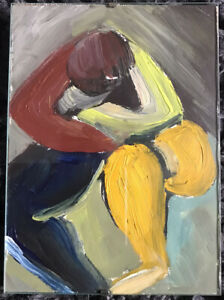 ADRIAN FROST  Oil on card abstract figure painting son of Terry Frost provenance