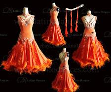 Feather Ballroom / Standard Waltz Dance Dress With High Quality Rhinestone  ST79
