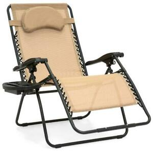 Oversized Zero Gravity Folding Chair Lounge Recliner with Cup Holder Outdoor NEW