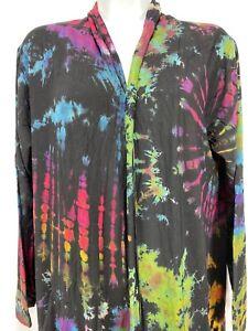 Kathmandu Imports Tie Dye Duster Jacket Boho Hippie Black Knit Heavy Quality M