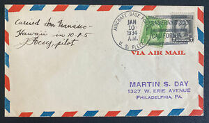 1937 San Diego USA Aircraft Base First Flight Airmail Cover FFC To Hawaii