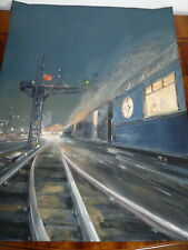 Superbe rare ancienne gouache signée Paul LENGELLE (1908-1993) Train locomotive