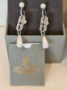 Vivienne Westwood silver tone pearl drop Razor Earrings New Boxed