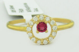 RUBY 0.12 Cts & WHITE SAPPHIRES RING .925 Sterling Silver (Yellow)* NEW WITH TAG