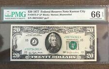 1977 STAR , $20  federal reserve note , Kansas cIty , gem  ,PMG 66 EPQ
