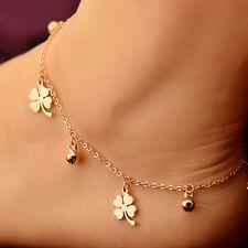 Hot Stainless Steel 14K Rose Gold Flower Bell Charms Ankle Chain Bracelet Anklet