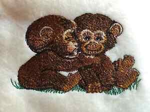 Personalized Embroidery Baby Fleece Blanket with two Monkeys