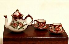 Miniature Tea Set Dollhouse 1:12 Painted Artist Ina