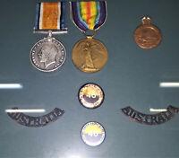 FRAMED WW1 AUSTRALIAN ARMY MEDAL GROUP 2659 PTE W. GILLINGHAM BN AIF ANZAC