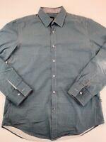 HUGO BOSS Mens Button Front Shirt Blue Green Houndstooth Long Sleeve Slim Fit L