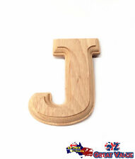 "Small Oak Wood Alphabet Letter ""J"" Natural Brown Uppercase Home Decor Art Craft"