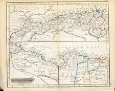 Carta geografica antica storica AFRICA SETTENTRIONALE Libia 1840 Old antique map