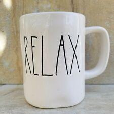 "RAE DUNN ""RELAX"" COFFEE TEA MUG WHITE Long Letter ARTISAN COLLECTION MAGENTA NEW"