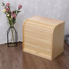 NEW! Double Layer Roll Top Bamboo Wooden Bread Bin Kitchen Storage