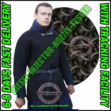 Butted Chain Mail Shirt Black Large Medieval Chainmail Hauberk Armor