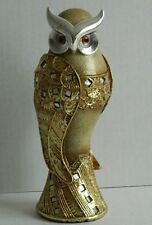 DECORATIVE OWL ORNAMENT GOLD GLITTER COLOURED NOVELTY GIFT ITEM