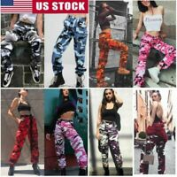 Women's Camo Cargo Trousers Pants Outdoor Military Army Combat Camouflage Sports