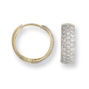 375 9ct Yellow or White Gold CZ Huggie Hoop Sleeper Earrings Pair