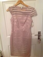 Lipsy VIP Nude Mesh Striped Sheer Panel Slimming Shift/Pencil Dress UK8 RRP £80