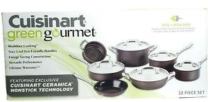 Cuisinart Green Gourmet 12-Piece Cookware Set Ceramica Nonstick Technology GG-12
