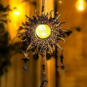 Wind Chimes, Crackle Glass Solar Lights with Hooks Hanging Indoor Outdoor Decors