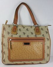 24c711a89335 US Polo Assn Canvas   Faux Ostrich Leather Bag Purse Tote Zipper Closures