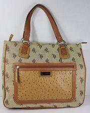 US Polo Assn Canvas & Faux Ostrich Leather Bag Purse Tote Zipper Closures