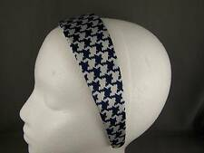 "Navy Blue White houndstooth print satin headband 1.75"" wide hair band accessory"