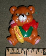 Bear with moving eyes ~ Vintage plastic refrigerator magnet ~ Memo