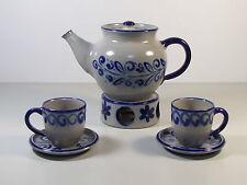Kaffeekanne / Teekanne 1,3 L salzglasiertes Steinzeug mit Stövchen und 2 Tassen