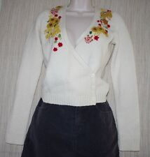 ANTHROPOLOGY GUINEVERE IVORY WOOL BLEND FLORAL CARDIGAN SWEATER WOMEN SIZE:XS