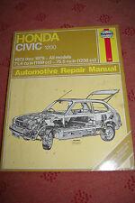 HAYNES  MANUAL HONDA CIVIC 1200 1973-1979 ALL MODELS Free P&P