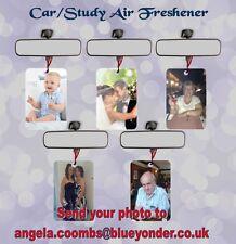 YOUR PHOTO PERSONALISED ONTO CAR/STUDY AIR FRESHENER VANILLA OR YLANG YLANG