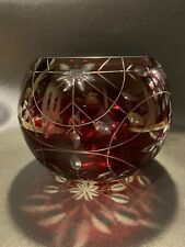 Ruby Red Cut To Clear Glass Bowl Flowers And Leaves Pattern
